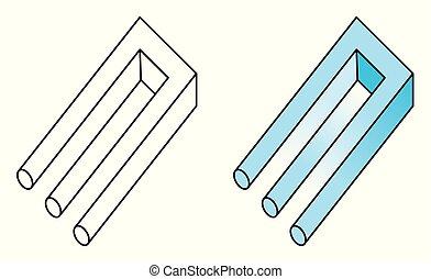 driesprong, onmogelijk, blivet, optische illusie