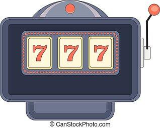 drievoudig, sevens, op, gleuf machine, geluksspelletjes, jackpot, vector