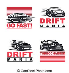 drift cars set - Set of four sport cars logo, badge...