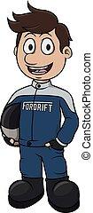 drift driver vector cartoon
