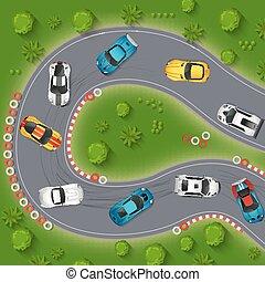 drifting, carros, topo, ilustração, desporto, vista