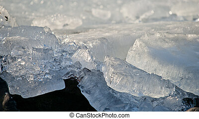 Drifting ice on the island of Marken.