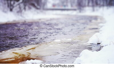 Drifting of Lososinka river ice, Petrozavodsk