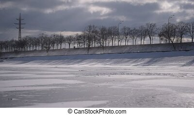 Drifting snow during overcast weather - Drifting snow on...