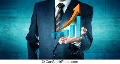 driftsleder, byde, exponential, tilvækst, retning, prognose