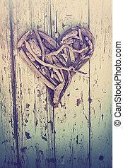 driftwood, coração, ligado, vindima, parede