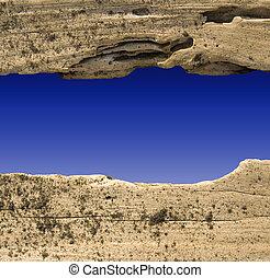 driftwood, divisore, su, cielo blu