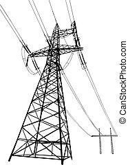 drijf lijnen aan, en, pylons