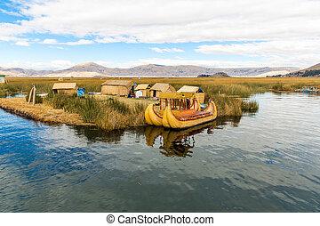 drijvende eilanden, op, meer titicaca, puno, peru,...