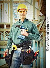drill., arbeiter, mann