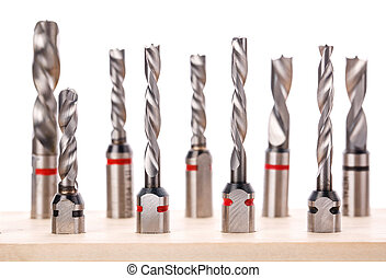 drill bits for wood standing on wooden stand