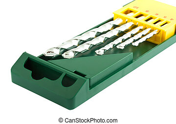 Drill bits in green case