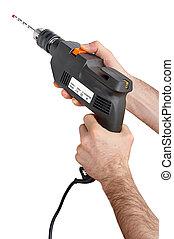 strong hands holding a drill - starke Haende halten eine Bohrmaschine