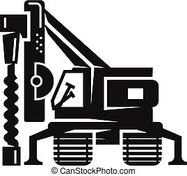 Drill excavator icon, simple style - Drill excavator icon....