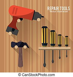 Drill hammer screwdriver tool icon. Vector graphic