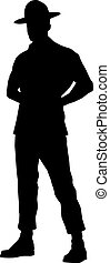 Drill instructor silhouette isolated on white.