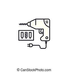 Drill linear icon concept. Drill line vector sign, symbol, illustration.