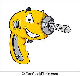 Drill Machine Mascot Vector - Creative Abstract Conceptual...