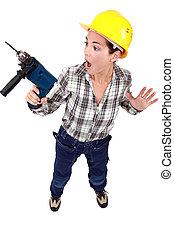 drill., rädd, anläggningsarbetare, kvinnlig