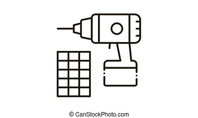 drill repair battery Icon Animation. black drill repair battery animated icon on white background