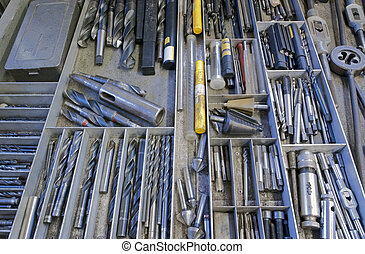 drill, screwplate, threader, reamer and other tools in drawer