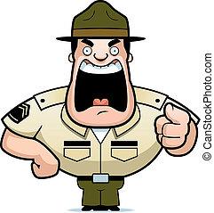 Drill Sergeant - A cartoon drill sergeant yelling.