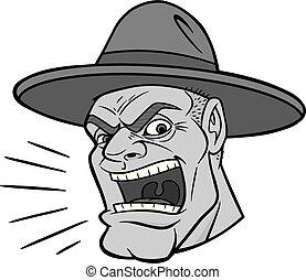 Drill Sergeant Illustration - A cartoon illustration of a ...