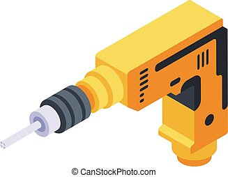 Drill tool icon, isometric style