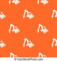 Drill tractor pattern vector orange