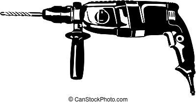 Vector illustration of an black drill