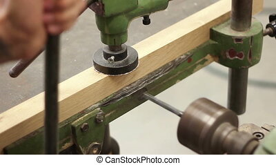 Drill - Carpenter working with electric machine, drilling...