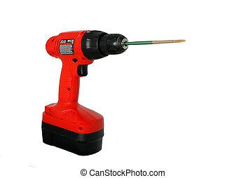 wireless red drill with a paintbrush for a bit - conceptual image of unique tools