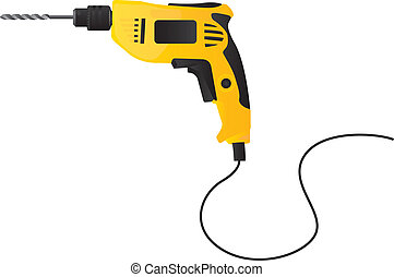Drill - Yellow and black drill on white background, Vector...