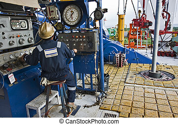 Driller working on a land drilling rig in Asia