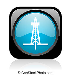 drilling black and blue square web glossy icon