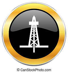 Drilling black web icon with golden border isolated on white background. Round glossy button.