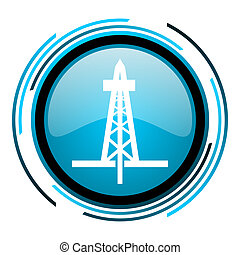 drilling blue circle glossy icon