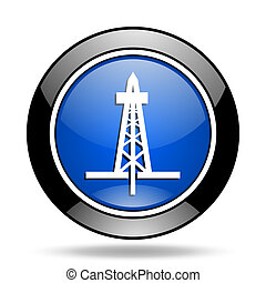 drilling blue glossy icon