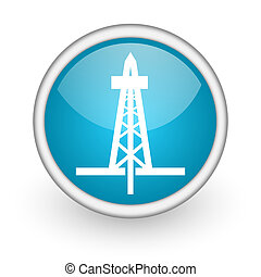drilling blue glossy icon on white background