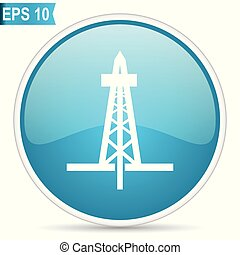 Drilling blue glossy round vector icon in eps 10. Editable modern design internet button on white background.