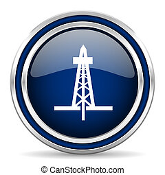 drilling blue glossy web icon