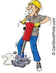 Drilling - Cartoon illustration of a man drilling