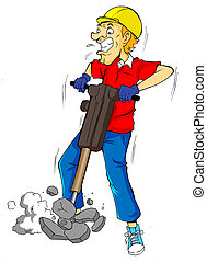 Drilling - Cartoon illustration of a man drilling