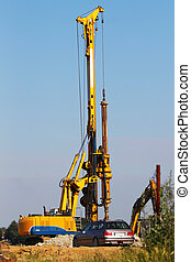 Drilling construction machinery on a construction site
