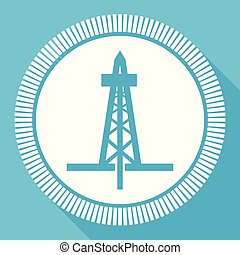 Drilling editable flat vector icon, drill rig square web button, blue computer and smartphone application sign in eps 10