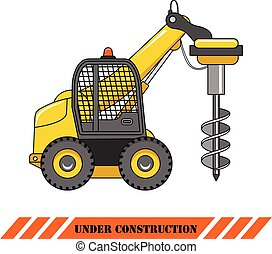 Drilling equipment. Heavy construction machines. Vector illustration