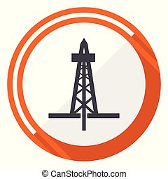 Drilling flat design vector web icon. Round orange internet button isolated on white background.