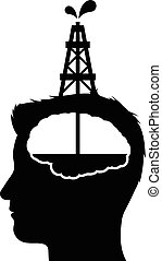 Drilling for oil in a human brain with a vector black and...