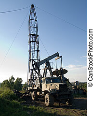 Mobile rig at work drilling the oil well