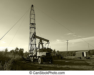 Oil drilling machine on the developing site